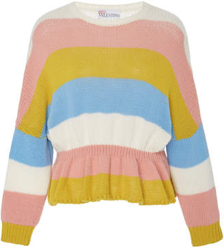 RED Valentino Striped Wool Peplum Sweater