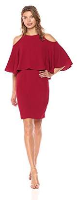 Adrianna Papell Women's Textured Crepe Cold Shoulder Sheath