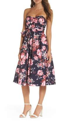 1901 Floral Strapless Midi Dress (Regular, Petite & Plus Size)