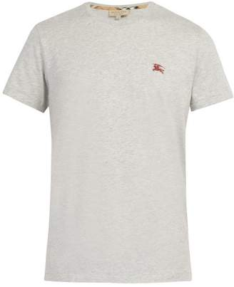 Burberry Logo Embroidered Cotton T Shirt - Mens - Grey