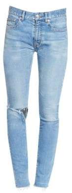 Balenciaga Raw Hem Ripped Skinny Jeans