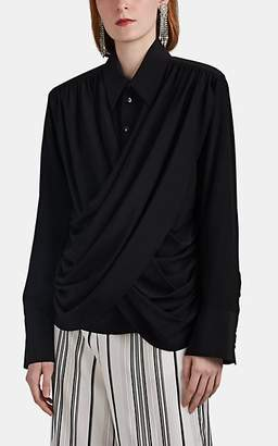 AKIRA NAKA Women's Silk Crepe Draped-Front Blouse - Black