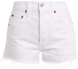 Re/Done Originals Re/done Originals - The Short Raw Hem Denim Shorts - Womens - White