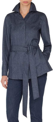 Akris Self-Belt Cashmere-Cotton Flannel Tunic Blouse
