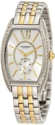 Akribos XXIV Women's AKR470TT Diamond Swiss Quartz Tourneau Bracelet Strap Watch