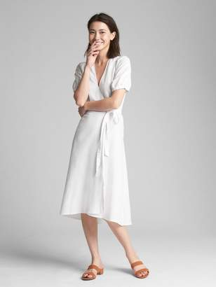 Gap Wrap Midi Dress in Linen-Cotton