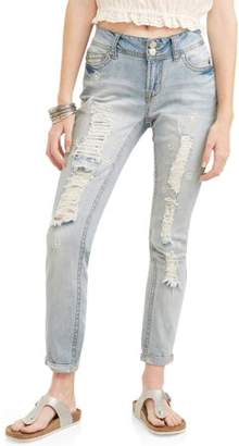 Wallflower Juniors' Curvy Flower Bead Embellished Distressed Ankle Jeans