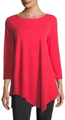 Joan Vass 3/4-Sleeve Asymmetric Tunic, Plus Size