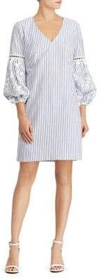 Lauren Ralph Lauren Embroidered Striped Cotton Dress