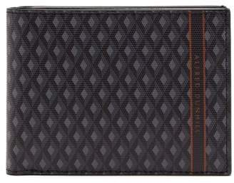 Dunhill Engine Turn Coated Canvas Bi Fold Leather Wallet - Mens - Grey