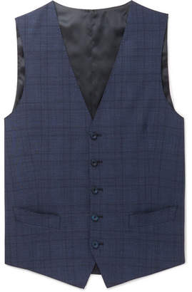 Thom Sweeney Navy Slim-Fit Prince Of Wales Checked Wool-Blend Waistcoat