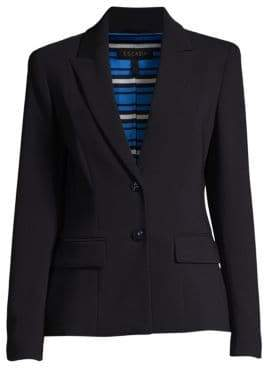 Escada Women's Baylo2 Two-Button Wool-Blend Blazer - Navy - Size 38 (8)