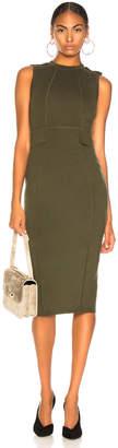 Victoria Beckham Signature Crewneck Dress in Military Green | FWRD