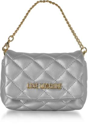 Love Moschino Mini Bag Silver Eco-Leather Clutch