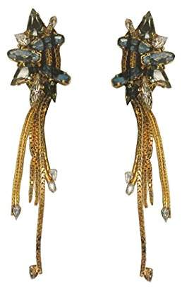 Cotton Club VICKISARGE Swarovski Crystals and Decorated Chains 23 ct Gold Plated Earrings