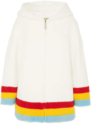 Burberry Striped Fleece Hoodie - Ivory