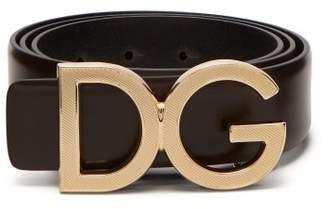 Dolce & Gabbana Monogram Buckle Leather Belt - Mens - Brown