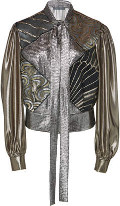 Alberta Ferretti Metallic Silk Blend Blouse