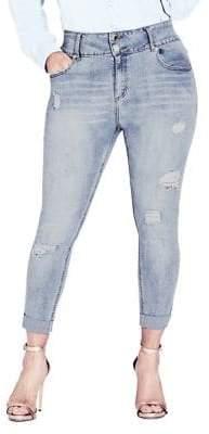 City Chic Plus Rip N Roll Skinny Jeans