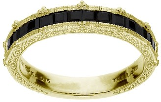 Judith Ripka 14K Clad Black Spinel Channel-SetBand Ring