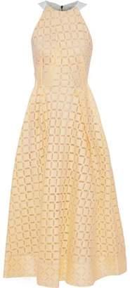 Roland Mouret Baldry Paneled Cutout Cotton And Silk-blend Midi Dress