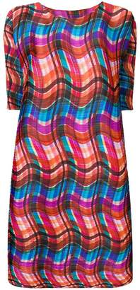 Pleats Please Issey Miyake wavy check pleated dress