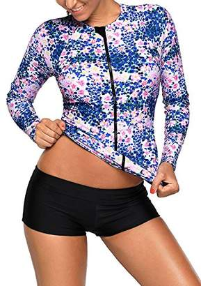 Womens Floral Printed Long Sleeve Front Zippered Rash Guard Swim Top Swimsuit Shirt Floral Small