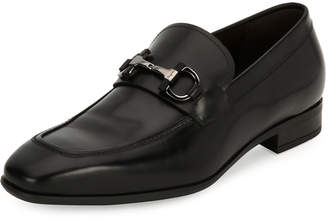 Salvatore Ferragamo Men's Gancini-Bit Leather Loafer, Black