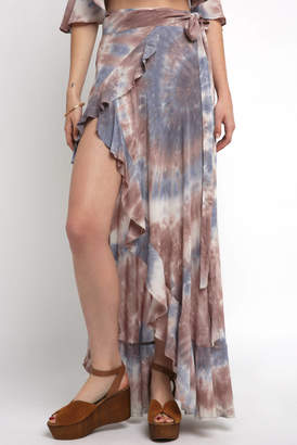 Olivaceous Tie Dye Sarong Ruffle Maxi Skirt