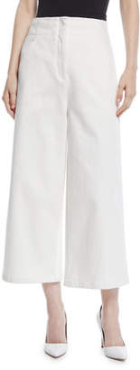 Tibi Demi Wide-Leg Enzyme Washed Twill Cropped Jeans