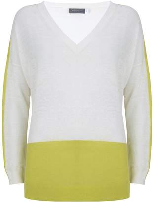 Mint Velvet Ivory & Lime V-Neck Linen Knit
