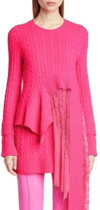 Sies Marjan Layered Lace Hem Wool & Cashmere Sweater