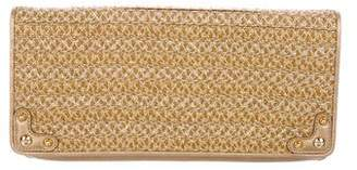 Eric Javits Leather-Trimmed Woven Clutch