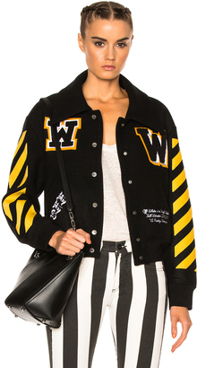 OFF-WHITE Varsity Bomber Jacket with Patches $1,380 thestylecure.com
