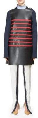Alberta Ferretti Long Sleeve Striped Short Dress