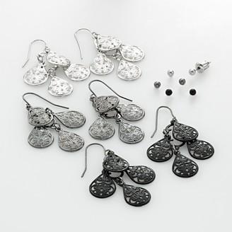 Mudd Two Tone Ball Stud & Filigree Chandelier Earring Set