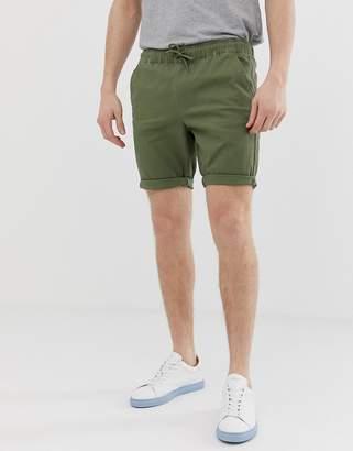 Asos Design DESIGN skinny chino shorts with elastic waist in khaki