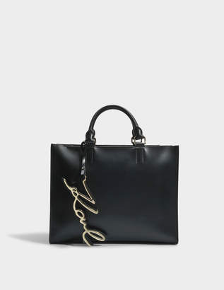 Karl Lagerfeld K/Signature Shopper Bag in Black Smooth Calf Leather