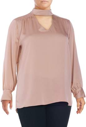 Vince Camuto Plus Pleated Keyhole Top