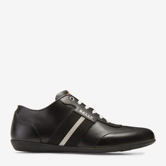 Harlam Black, Men's calf leather trainer in black