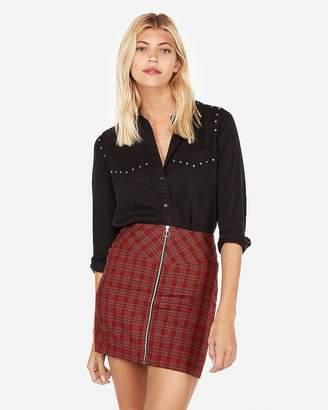 Express Plaid Cotton Twill Mini Skirt