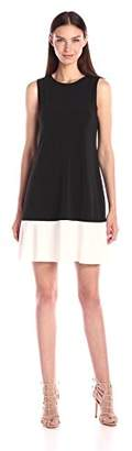Tiana B Women's Solid Sleeveless Color-Block Swing Dress