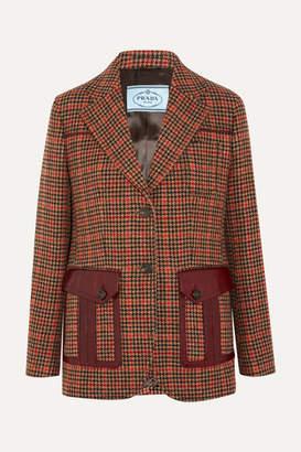 Prada Leather-trimmed Checked Wool-blend Tweed Blazer - Orange
