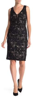 Marina Sleeveless Lace and Sequin Dress