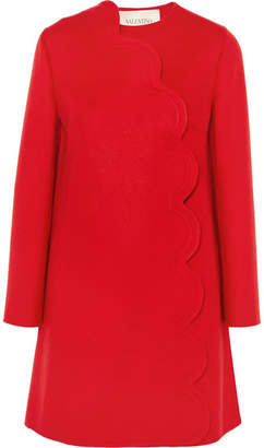 Valentino Scalloped Wool And Cashmere-blend Coat - Red