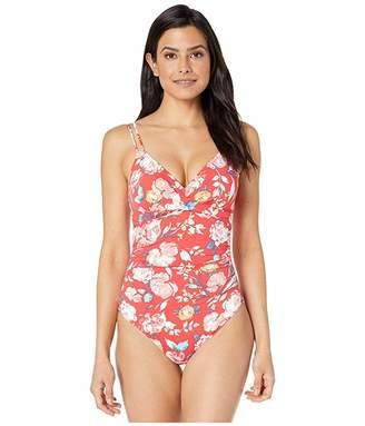 Lauren Ralph Lauren Bright Floral Lingerie Strap Underwire One-Piece Swimsuit