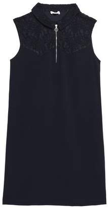 Claudie Pierlot Ramos Corded Lace-Paneled Crepe Mini Dress