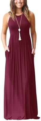 Glomeen Women's Maxi Dresses Sleeveless Racerback Loose Plain Casual Long Dresses With Pockets (, XL)