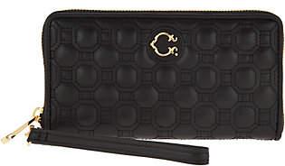 C. WonderC. Wonder Nappa Leather Geo Quilted Zip Wristlet Wallet