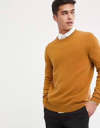 Asos Design DESIGN lambswool sweater in mustard